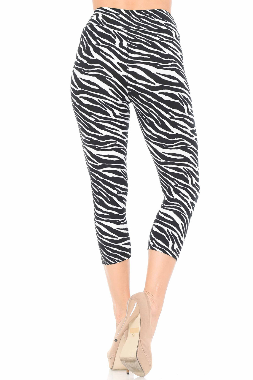 Our Buttery Soft Zebra Print Capris feature a neutral black and white color scheme that will pair well with a top of any color.