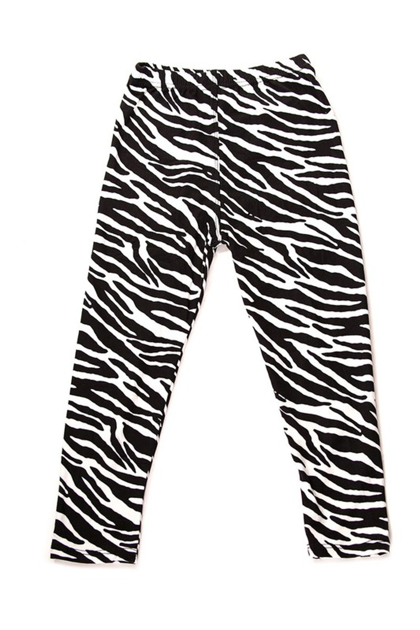 These full length Buttery Soft Zebra Print Kids Leggings feature a fun neutral colored black and white striped animal print design.