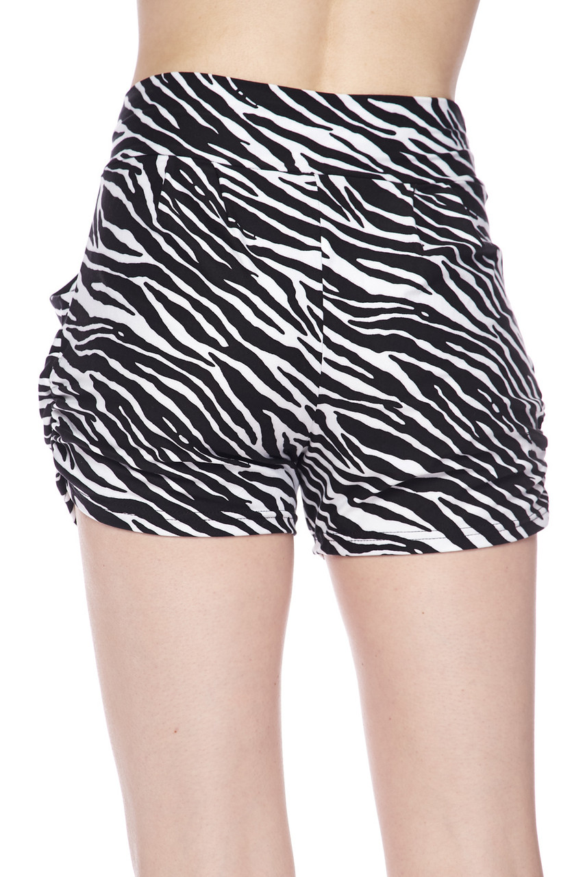Rear view of our flattering non-clingy Buttery Soft Zebra Print Harem Shorts