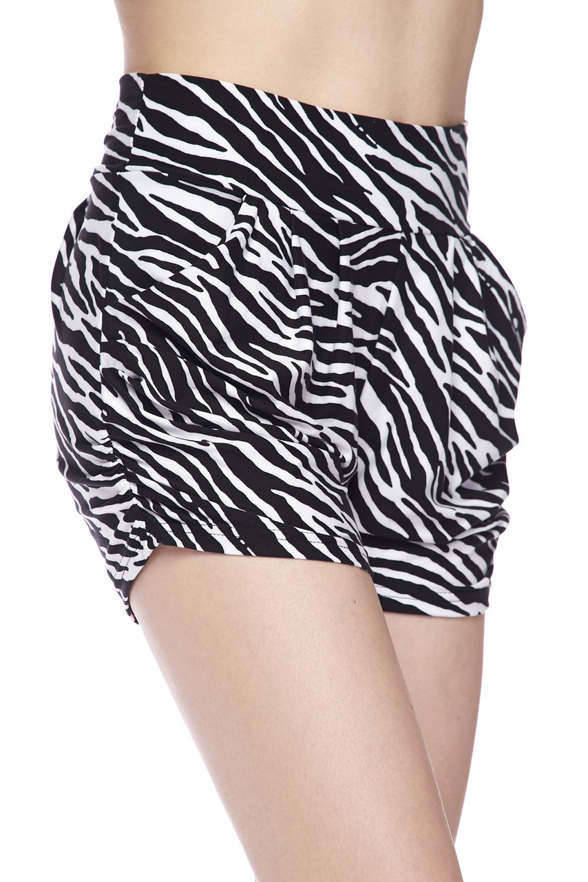 Our Buttery Soft Zebra Print Harem Shorts are ideal teamed with crop tops or bodysuits.