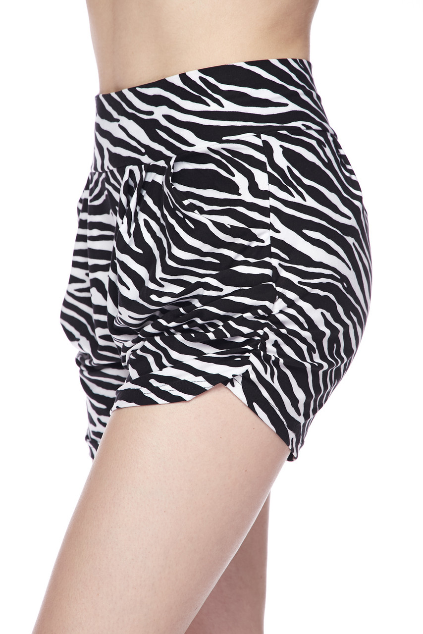Right side view of our  Buttery Soft Zebra Print Harem Shorts featuring a comfort fabric waist.