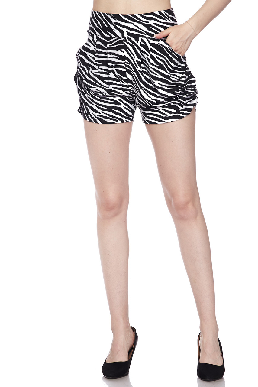 Front on view of our Buttery Soft Zebra Print Harem Shorts featuring functional side pockets.