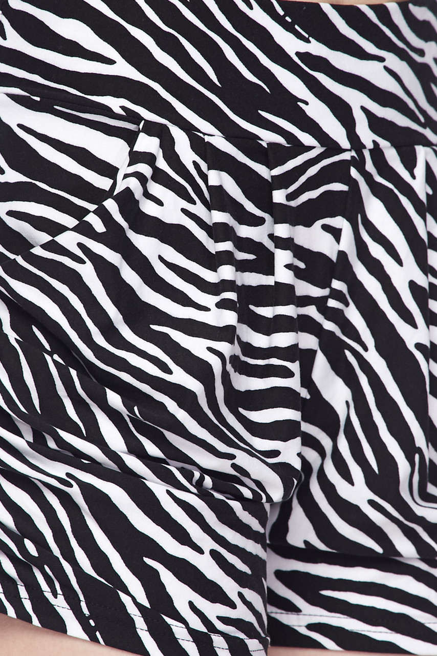 Close up Swatch of the black and white  animal striped design on our Buttery Soft Zebra Print Harem Shorts.