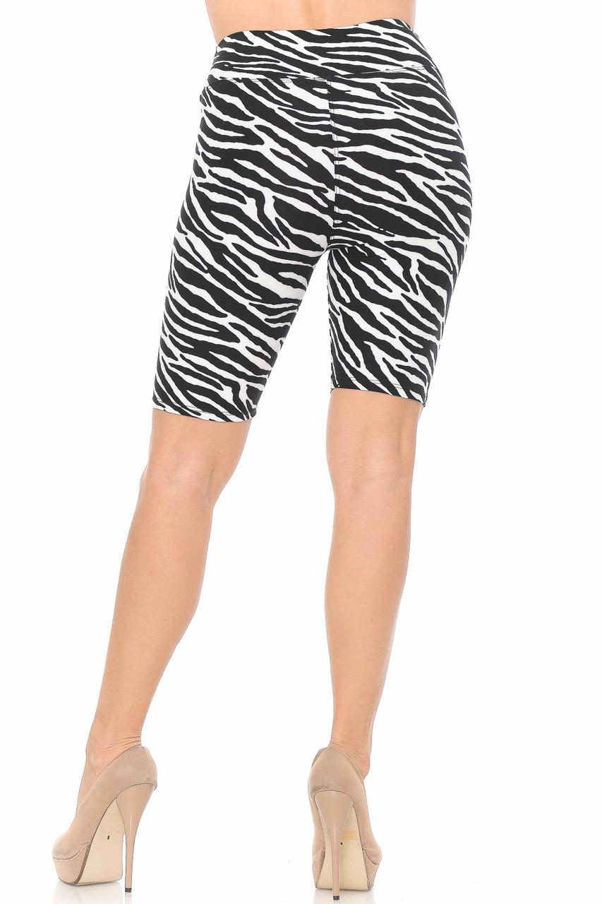 Our Buttery Soft Zebra Print Shorts feature a mid thigh biker length.