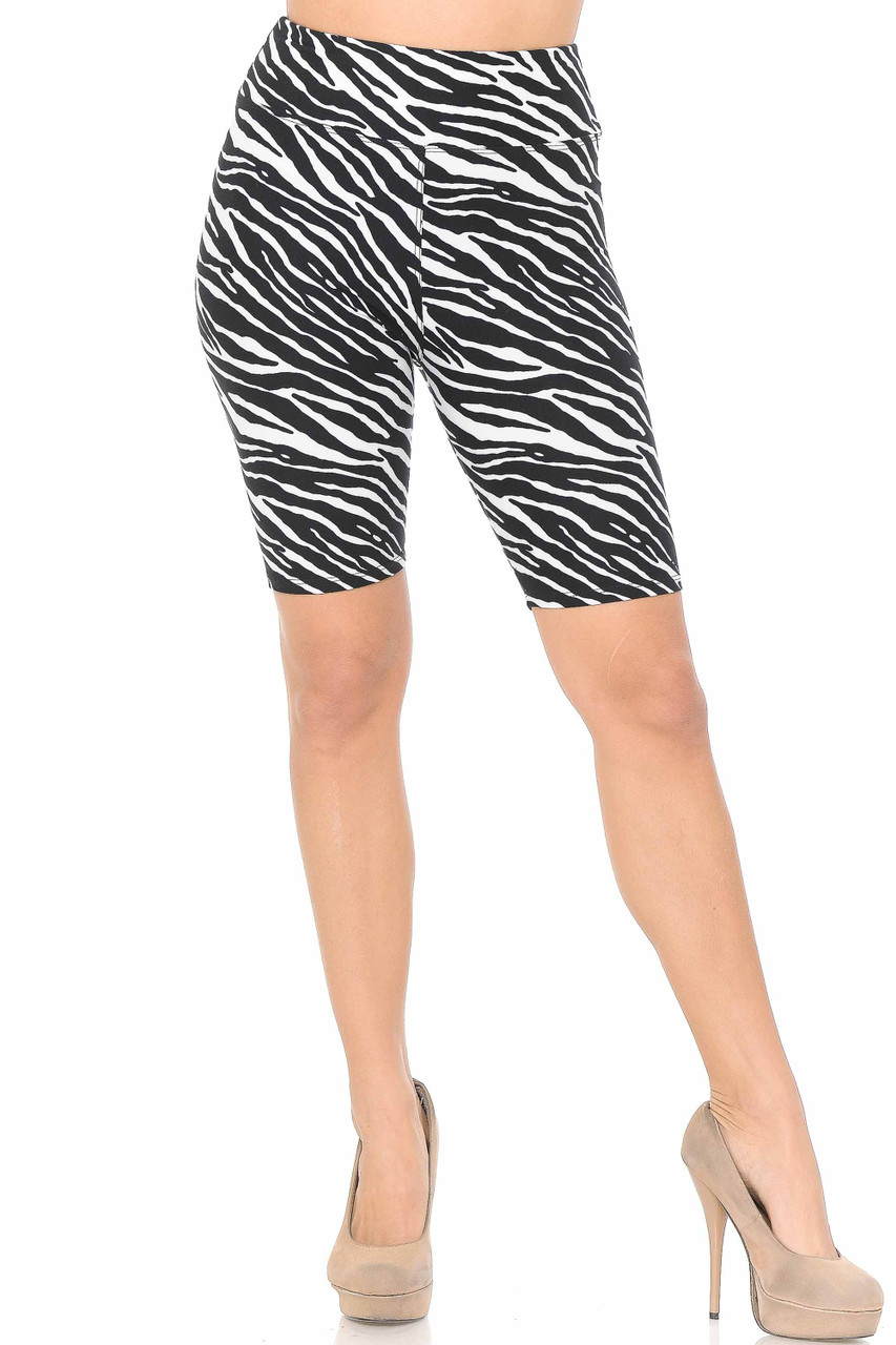 Our Buttery Soft Zebra Print Shorts - 3 Inch are ideal teamed with oversized tops as they offer a cool touch peeking under the hem of your top.