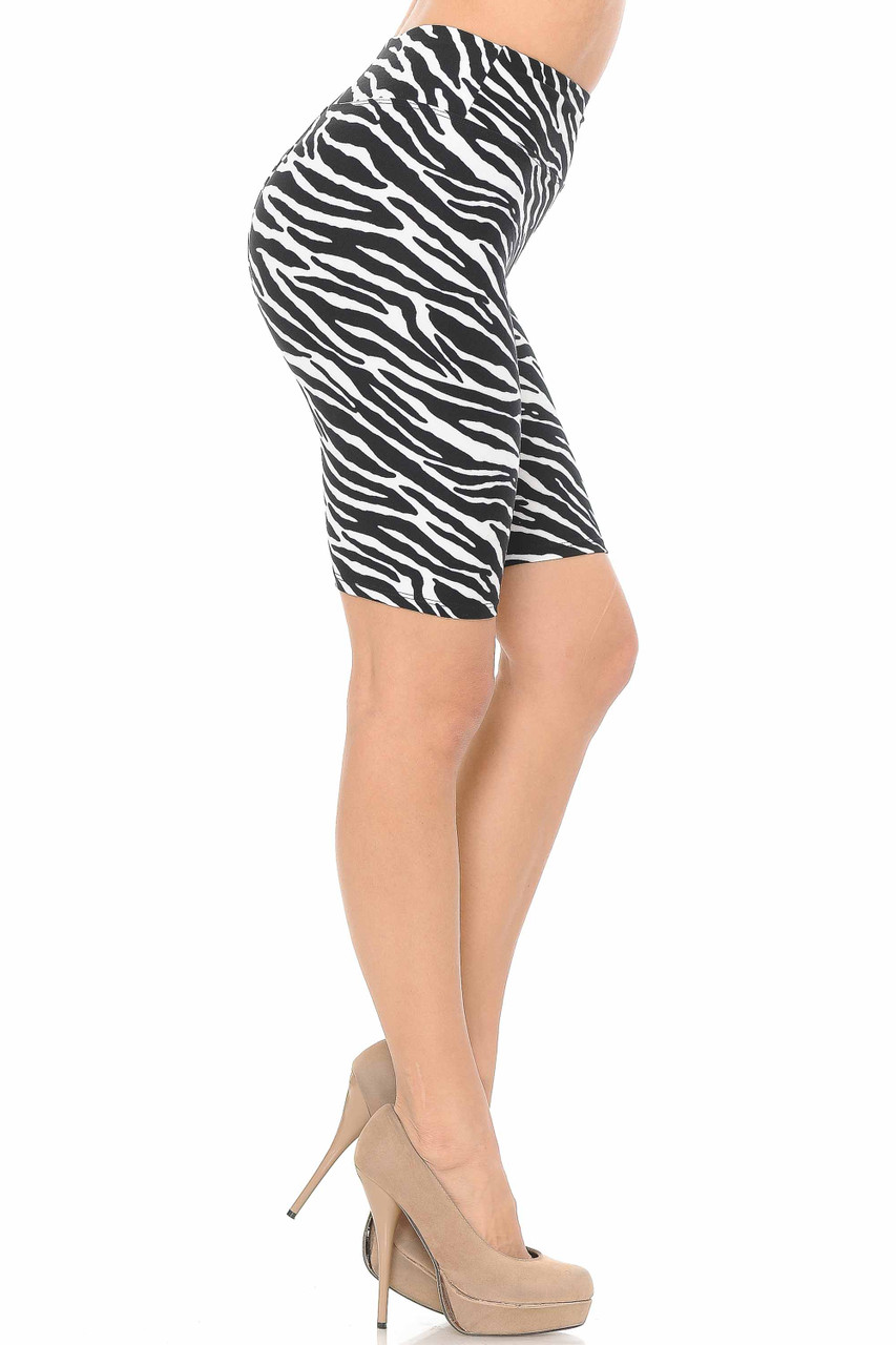 Right side view of Buttery Soft Zebra Print Shorts - 3 Inch
