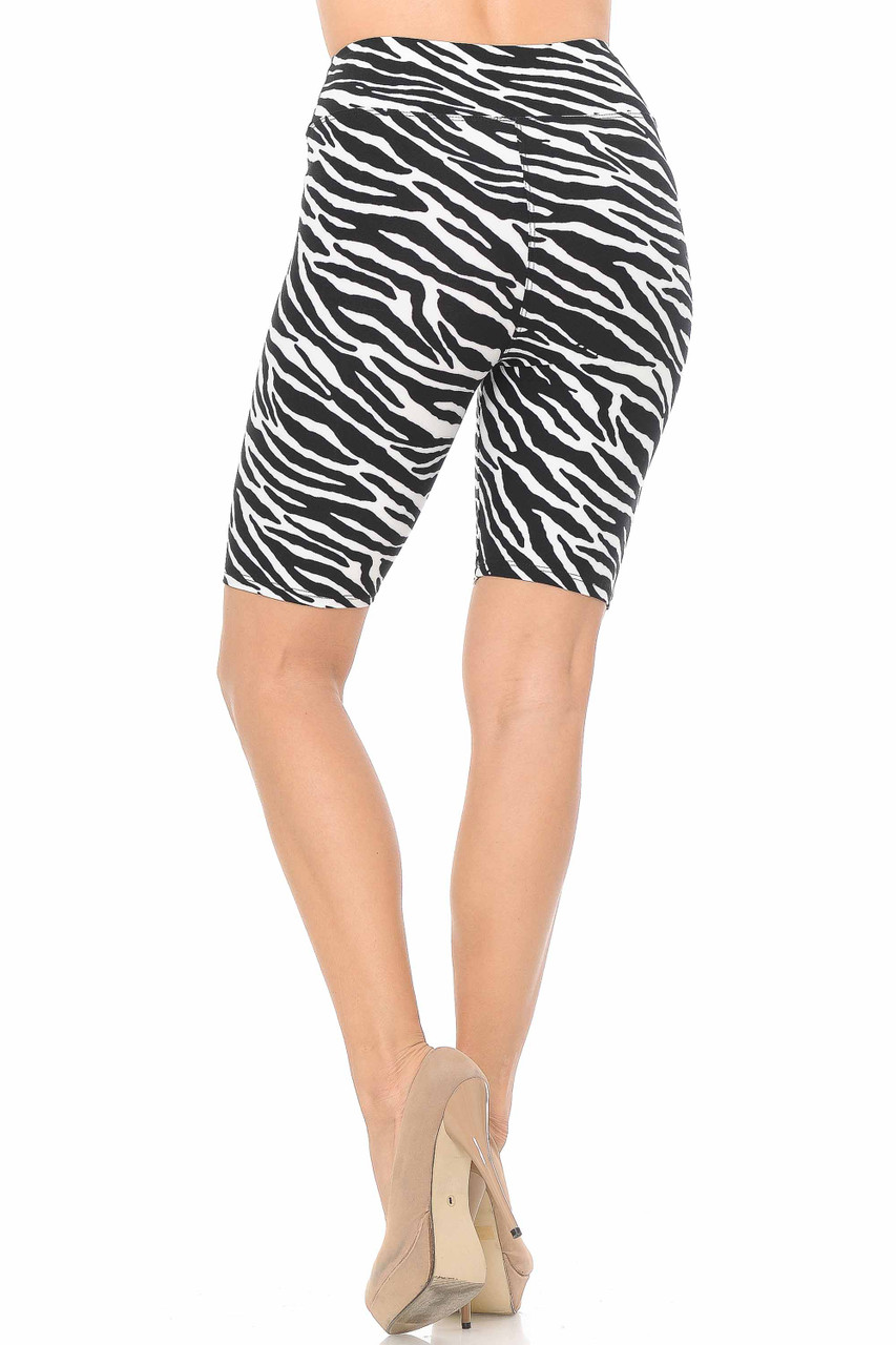 Rear view of our flattering fitted Buttery Soft Zebra Print Shorts - 3 Inch