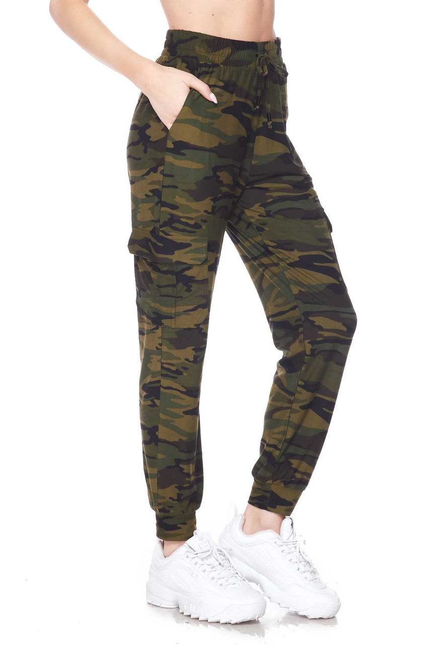 Right side view of Buttery Soft Green Camouflage Plus Size Joggers featuring a classic olive toned army print design.