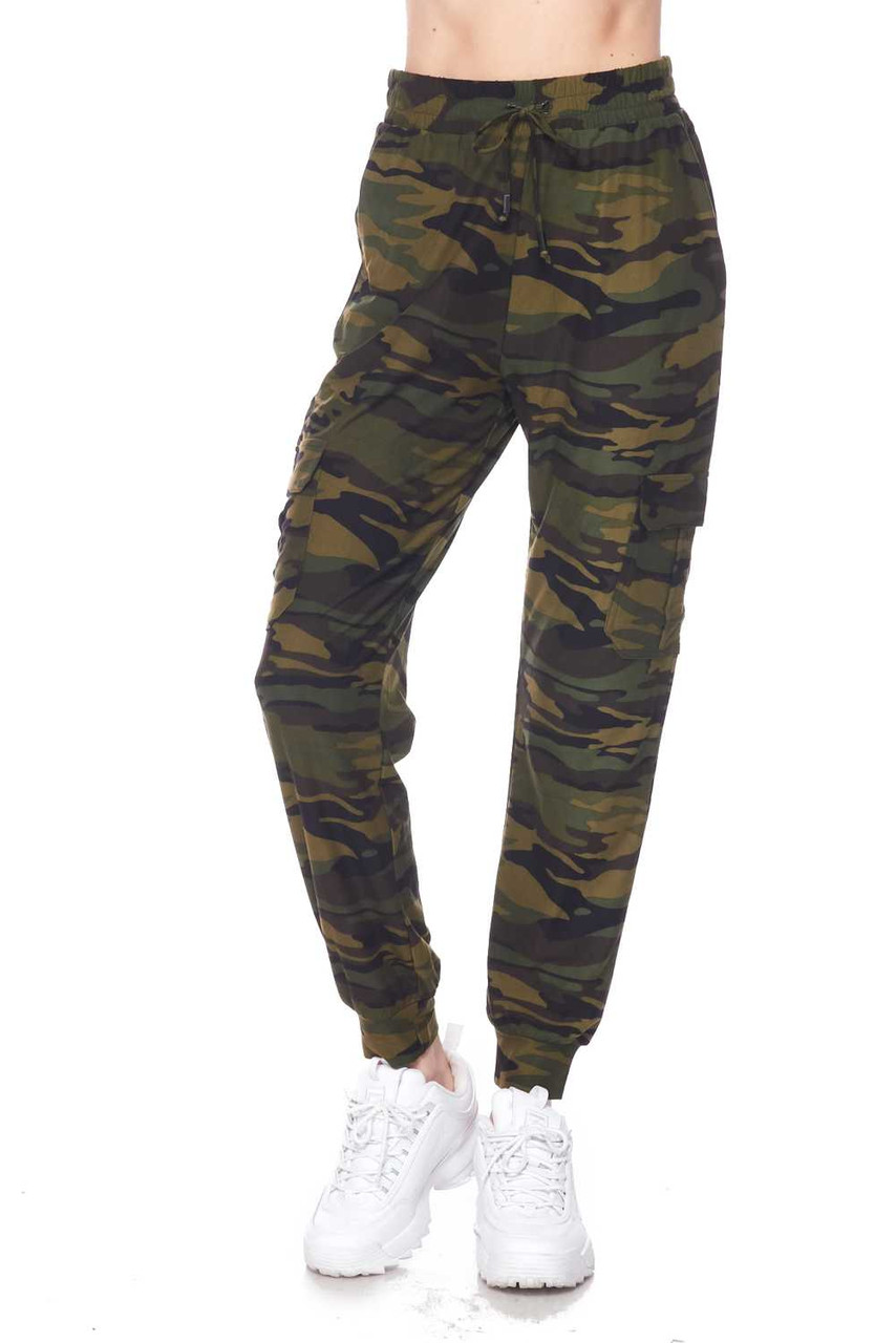 Partial front view of Buttery Soft Green Camouflage Plus Size Joggers