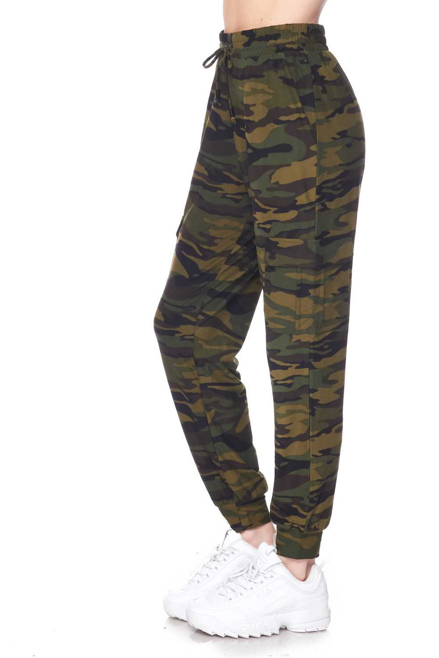 Left side view of our casual, comfortable, and stylish Buttery Soft Green Camouflage Plus Size Joggers
