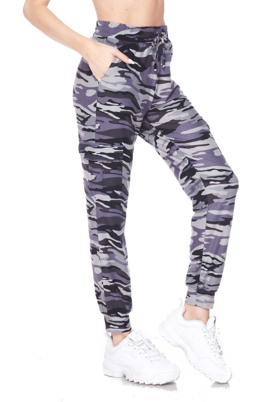 Right side view of Buttery Soft Charcoal Camouflage Plus Size Joggers featuring a monochromatic gray toned army print design.