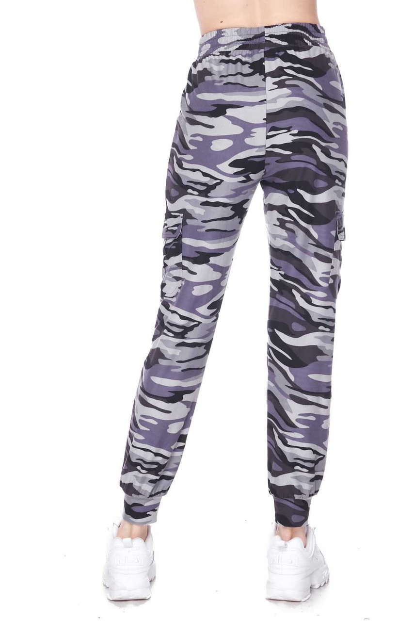Rear view of our Buttery Soft Charcoal Camouflage Plus Size Joggers, showcasing a loose fit leg wit tapered ankle cuffs.