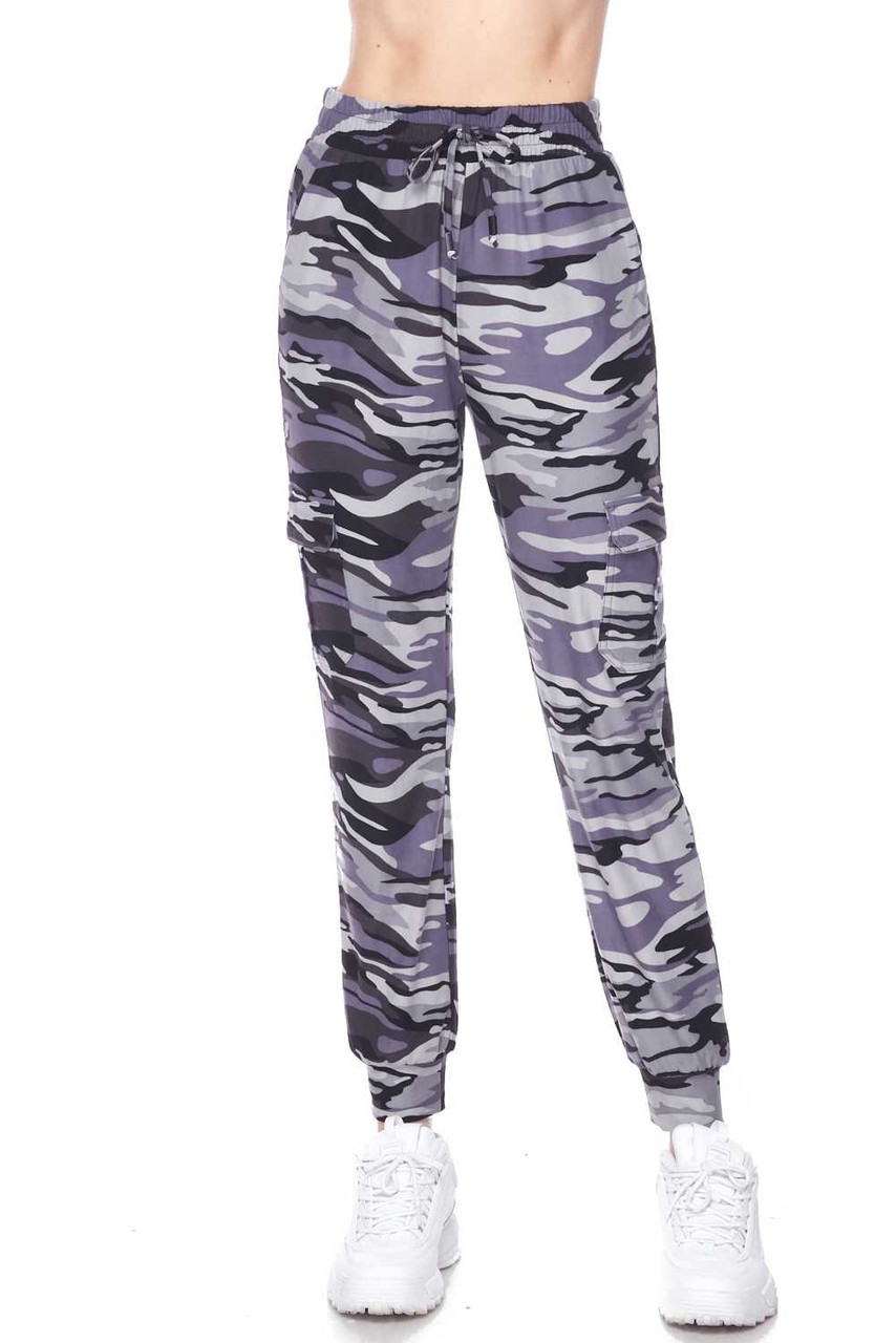 Front view of our Buttery Soft Charcoal Camouflage Plus Size Joggers showing an elastic tie string waist.