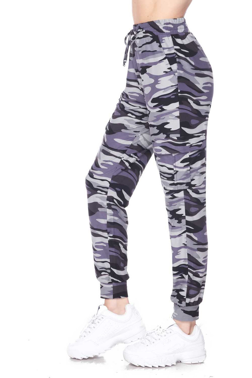 Left side view of our casual, comfortable, and stylish Buttery Soft Charcoal Camouflage Plus Size Joggers.