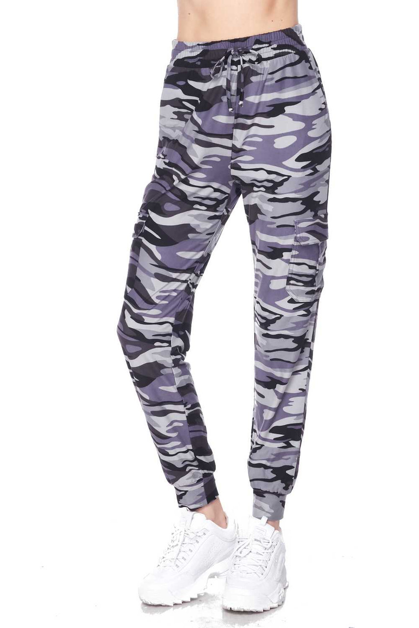 Partial front view of Buttery Soft Charcoal Camouflage Plus Size Joggers.