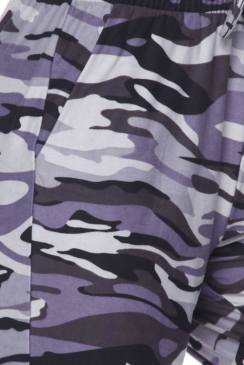 Close up swatch of the all gray camo print on our Buttery Soft Charcoal Camouflage Plus Size Joggers.
