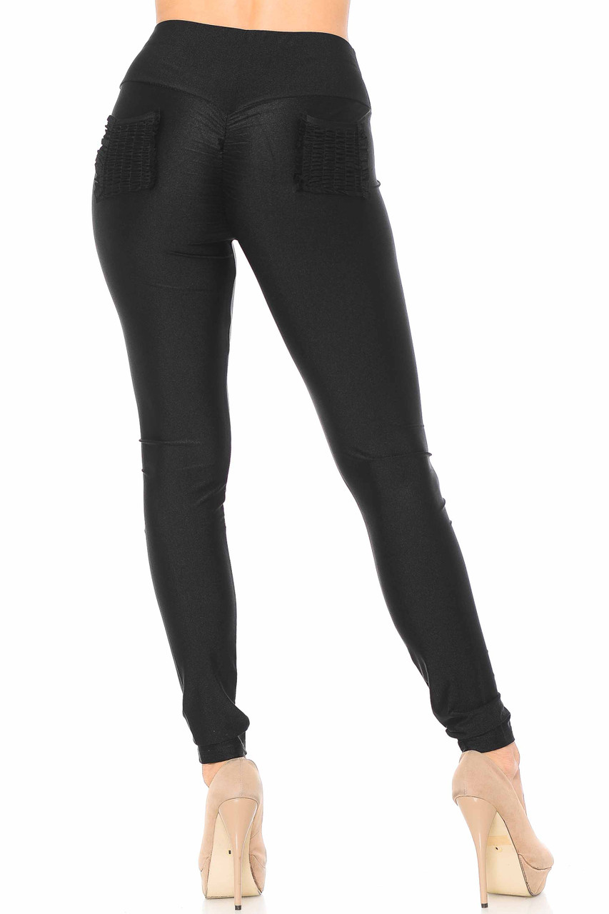 Back view of black Furled Pocket Scrunch Butt High Waisted Leggings with two ruched back pockets.