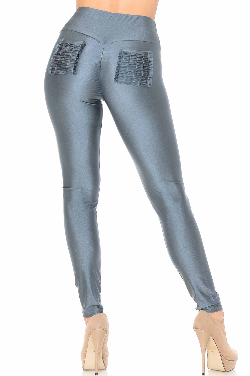 Back view of charcoal Furled Pocket Scrunch Butt High Waisted Leggings with two ruched back pockets.