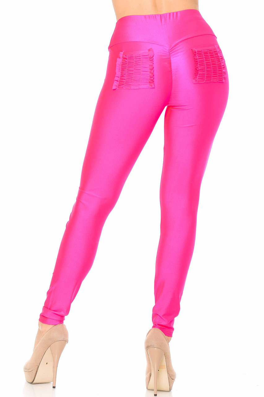 Back view of fuchsia Furled Pocket Scrunch Butt High Waisted Leggings with two ruched back pockets.