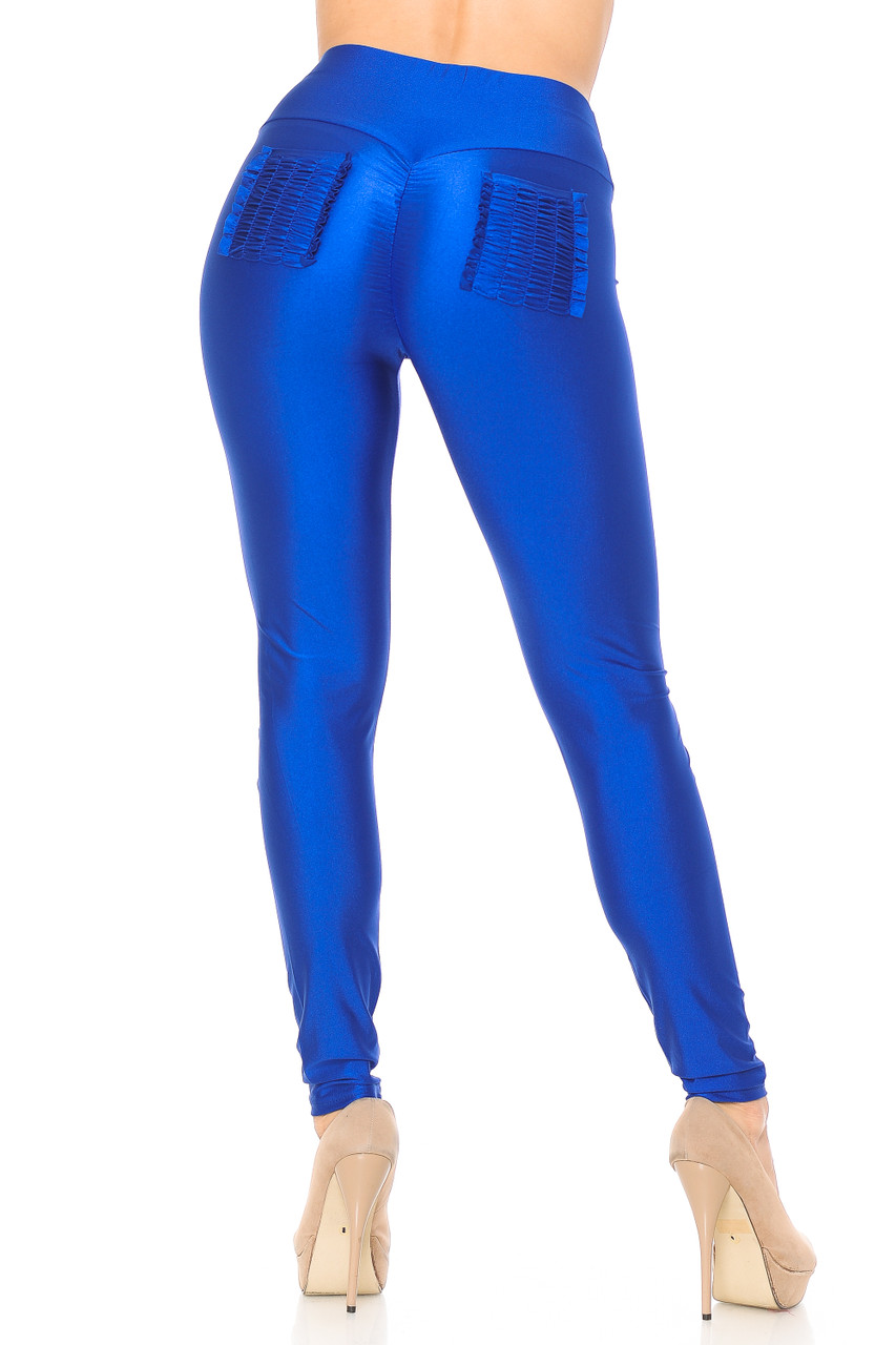 Back view of blue Furled Pocket Scrunch Butt High Waisted Leggings with two ruched back pockets.