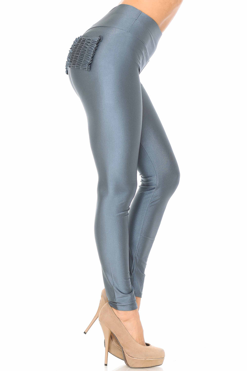 Right side view of charcoal Furled Pocket Scrunch Butt High Waisted Leggings showcasing a light sheen.