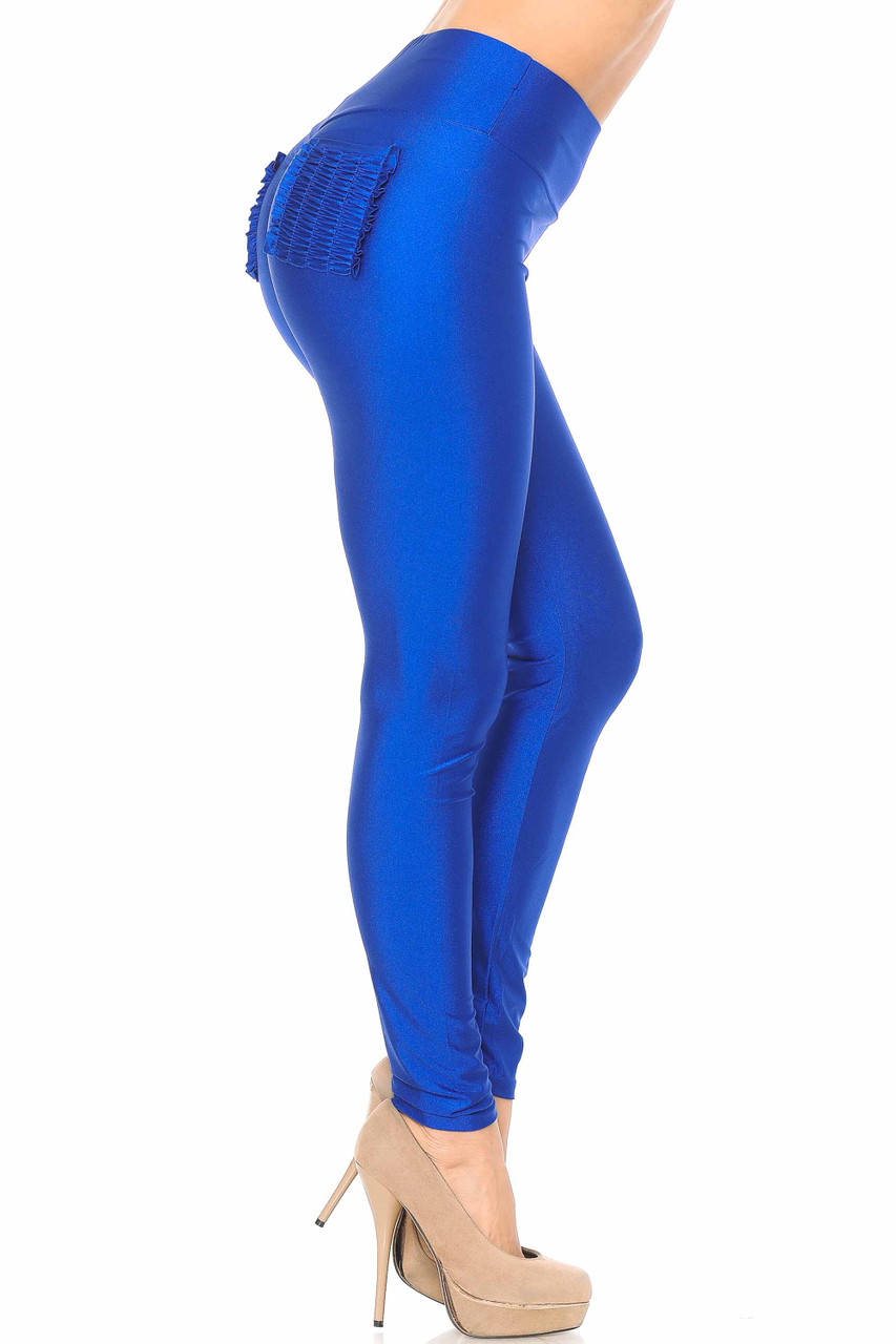 Right side view of blue Furled Pocket Scrunch Butt High Waisted Leggings showcasing a light sheen.