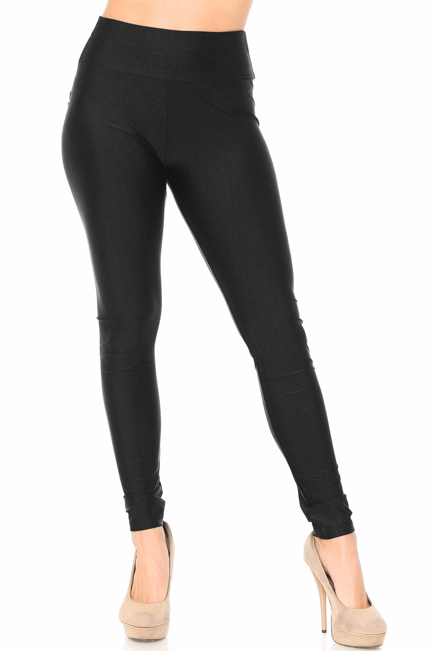 Front view of black Furled Pocket Scrunch Butt High Waisted Leggings with a comfort fabric waist.