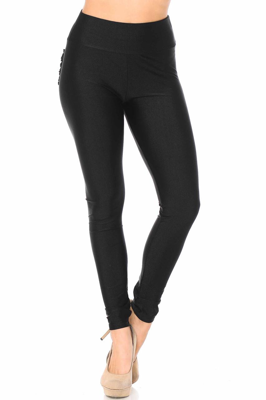 Front view of black sleek Furled Pocket Scrunch Butt High Waisted Leggings