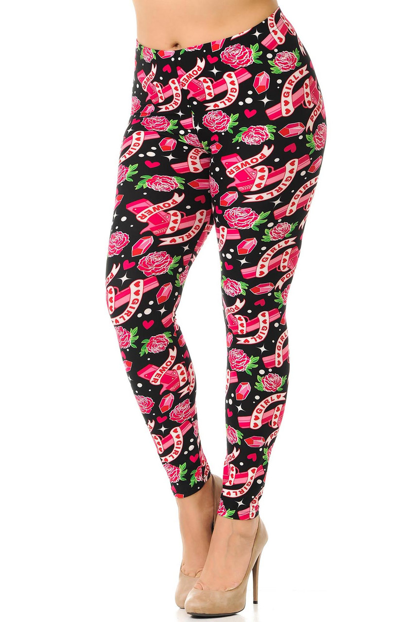 Our Buttery Soft Girl Power Plus Size Leggings showcase a theme of female empowerment.