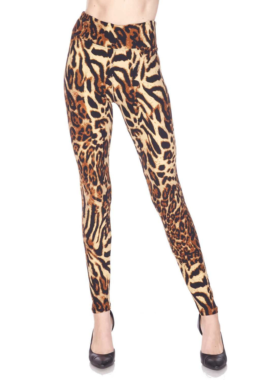 Front view of our sassy Buttery Soft Predator Leopard High Waisted Leggings, featuring a black spotted animal print design on a mixed light and darker brown background.