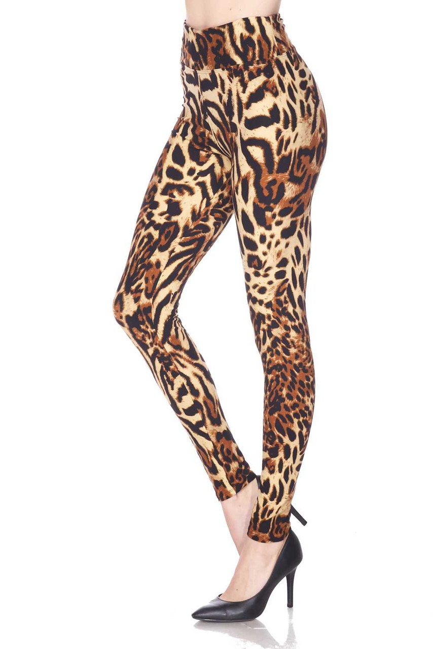 Left side view of our comfortable Buttery Soft Predator Leopard High Waisted Leggings.