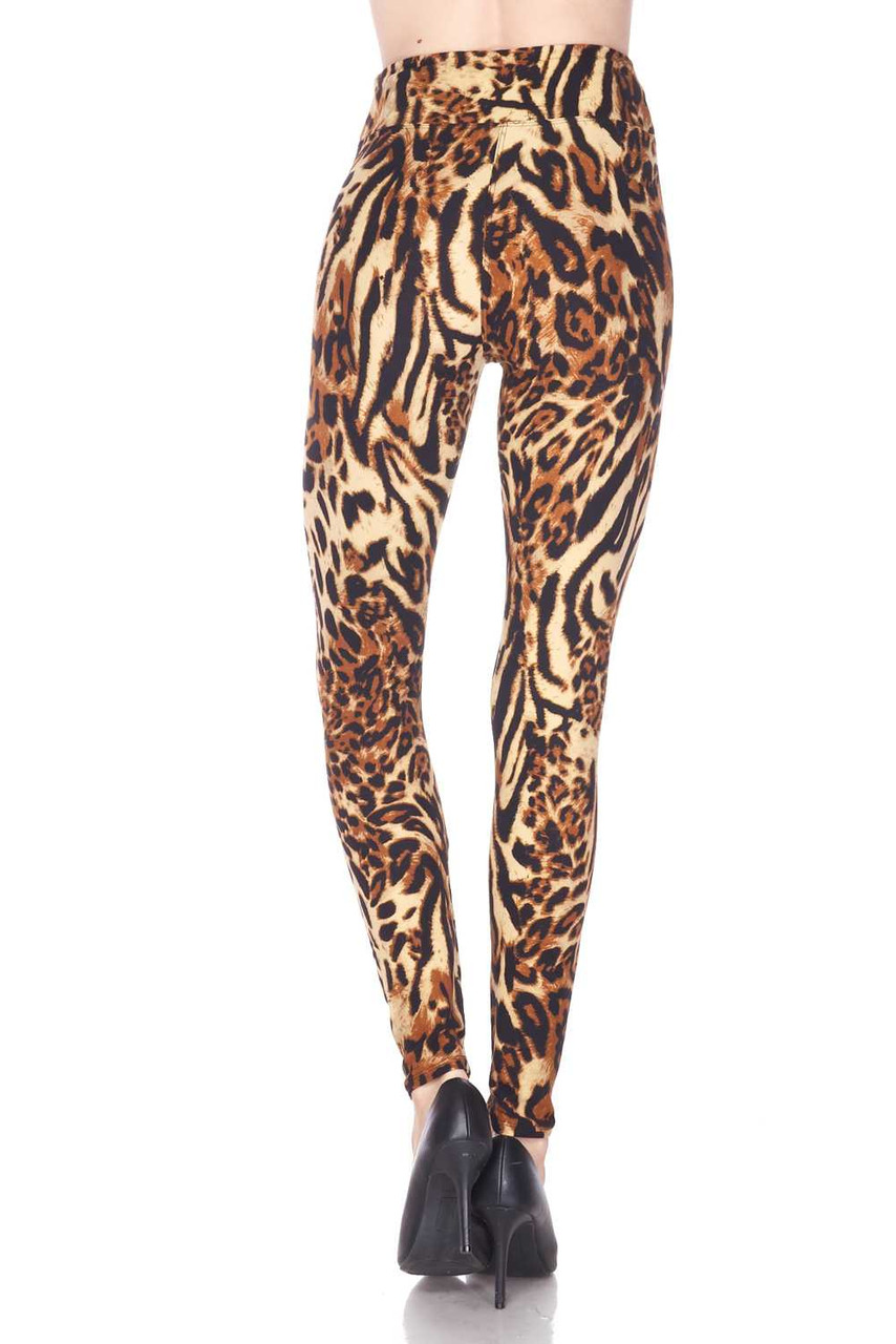 Rear view of full length Buttery Soft Predator Leopard High Waisted Leggings.
