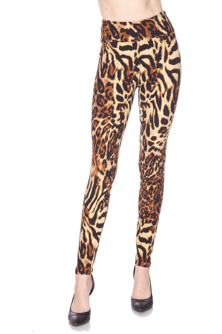 Front view of our body flattering fitted Buttery Soft Predator Leopard High Waisted Leggings.