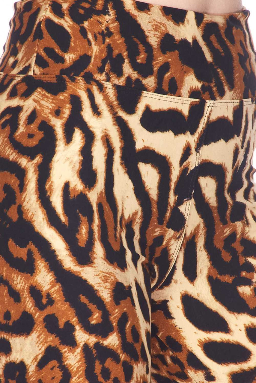 Close up swatch of the fierce animal print design on our Buttery Soft Predator Leopard High Waisted Leggings.