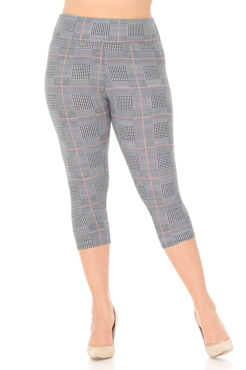Front view of our mid calf cropped length Buttery Soft Coral Accent Textured Houndstooth High Waist Plus Size Capris with a 3 Inch comfort fabric waistband.