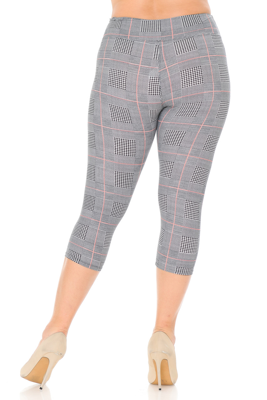 Rear view of our fitted body flattering Buttery Soft Coral Accent Textured Houndstooth High Waist Plus Size Capris - 3 Inch.