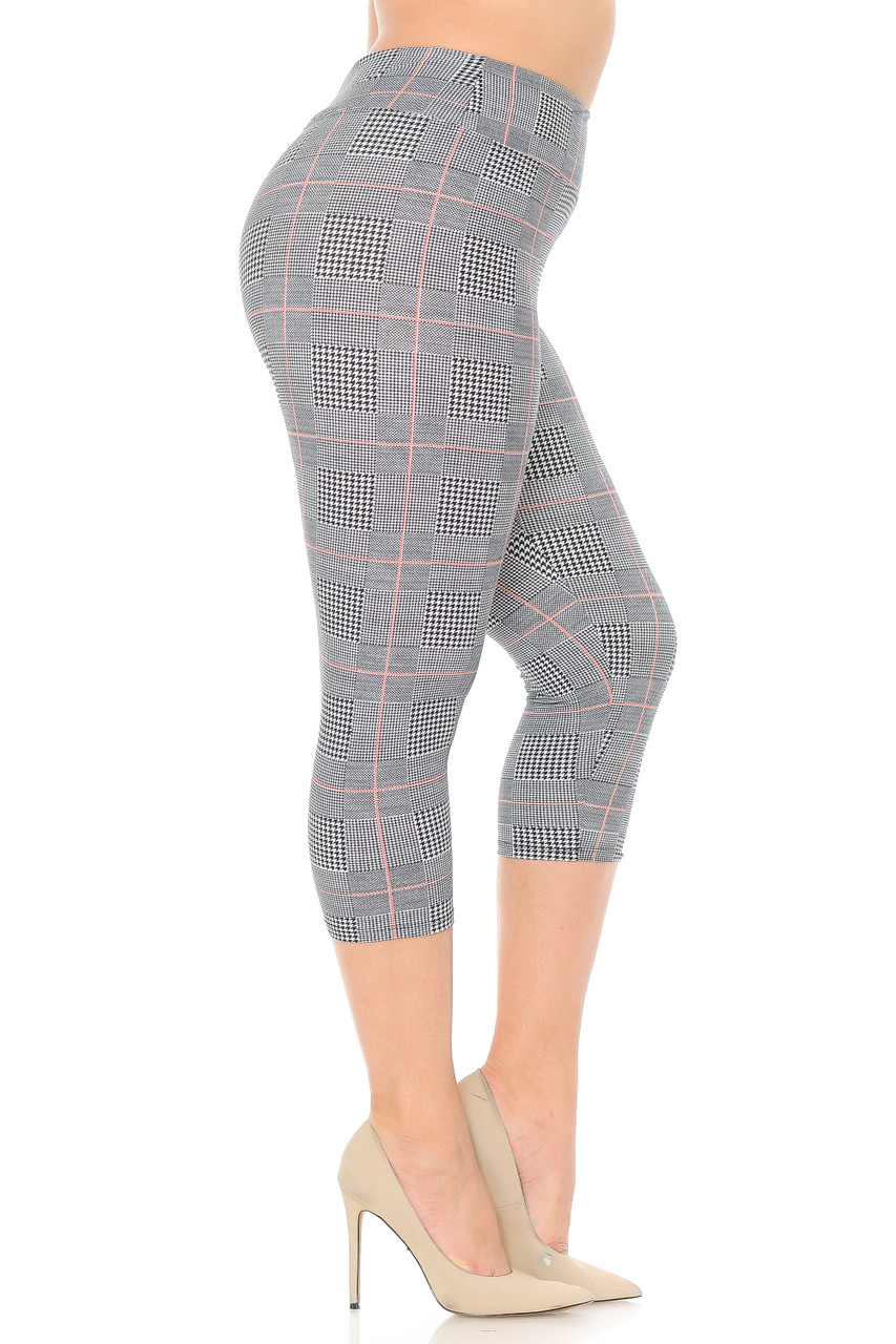 Right side view of our ultra comfortable Buttery Soft Coral Accent Textured Houndstooth High Waist Plus Size Capris - 3 Inch.