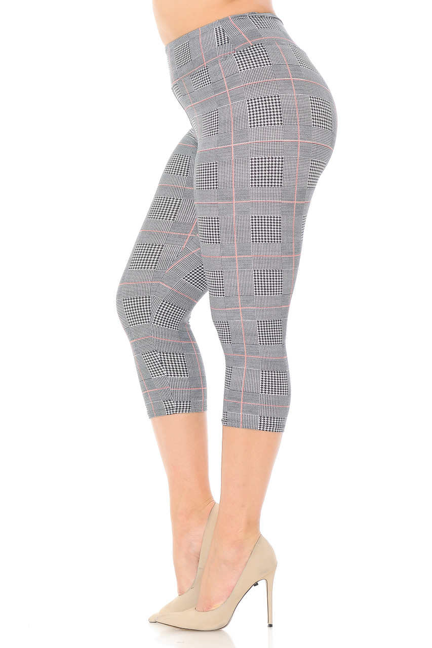 Left side view of our Buttery Soft Coral Accent Textured Houndstooth High Waist Plus Size Capris - 3 Inch.