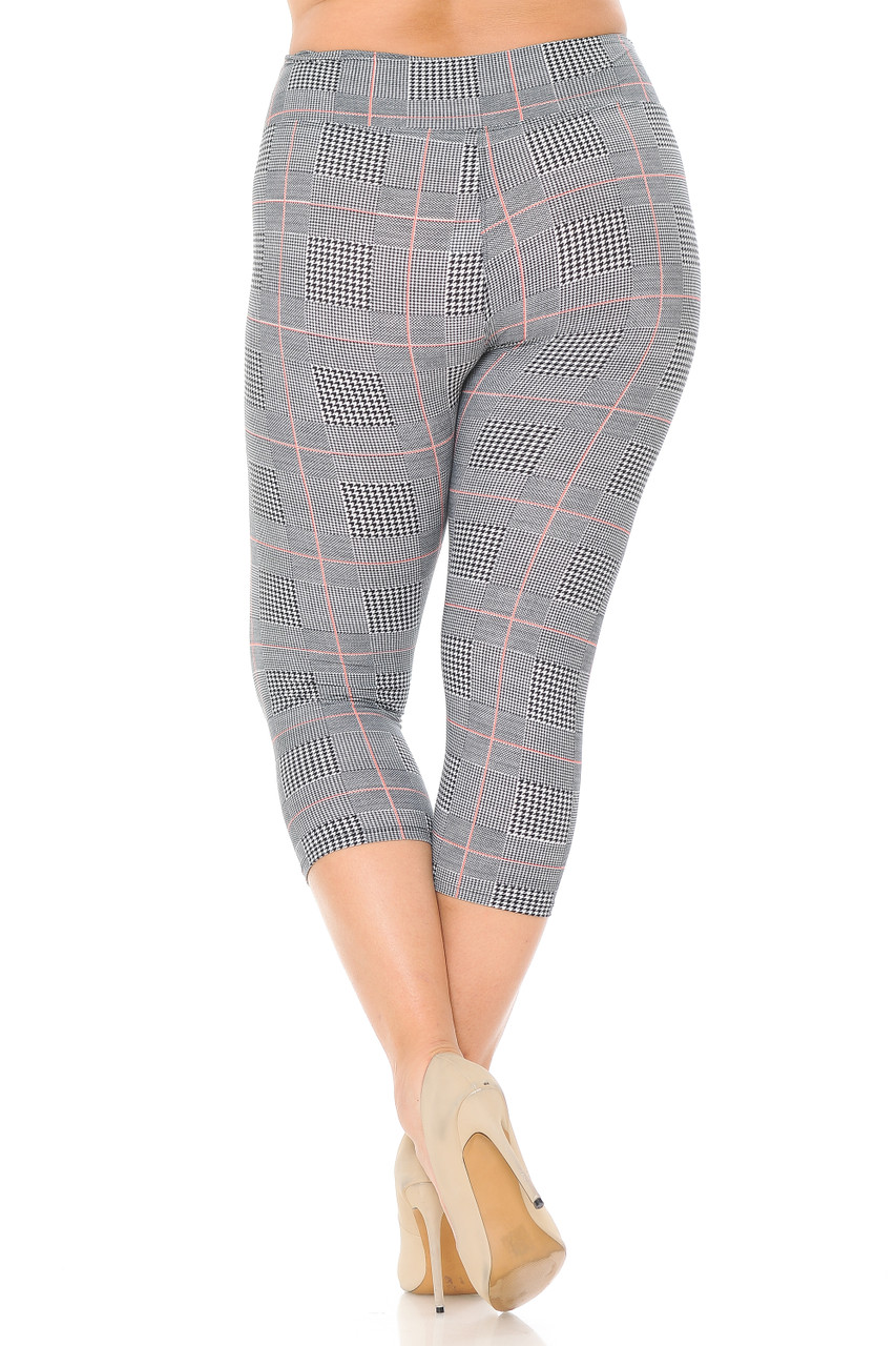 Back view of our Buttery Soft Coral Accent Textured Houndstooth High Waist Plus Size Capris - 3 Inch