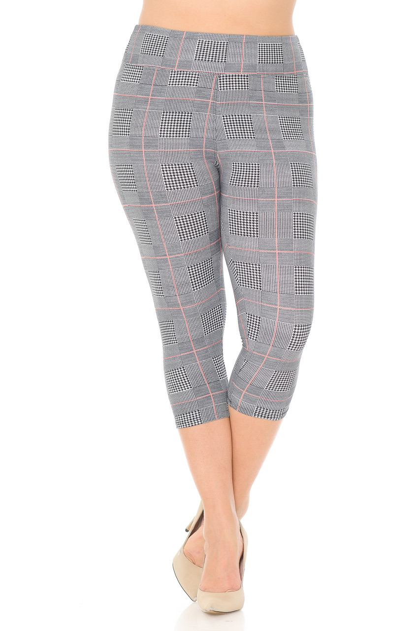 Front view of our Buttery Soft Coral Accent Textured Houndstooth High Waist Plus Size Capris - 3 Inch