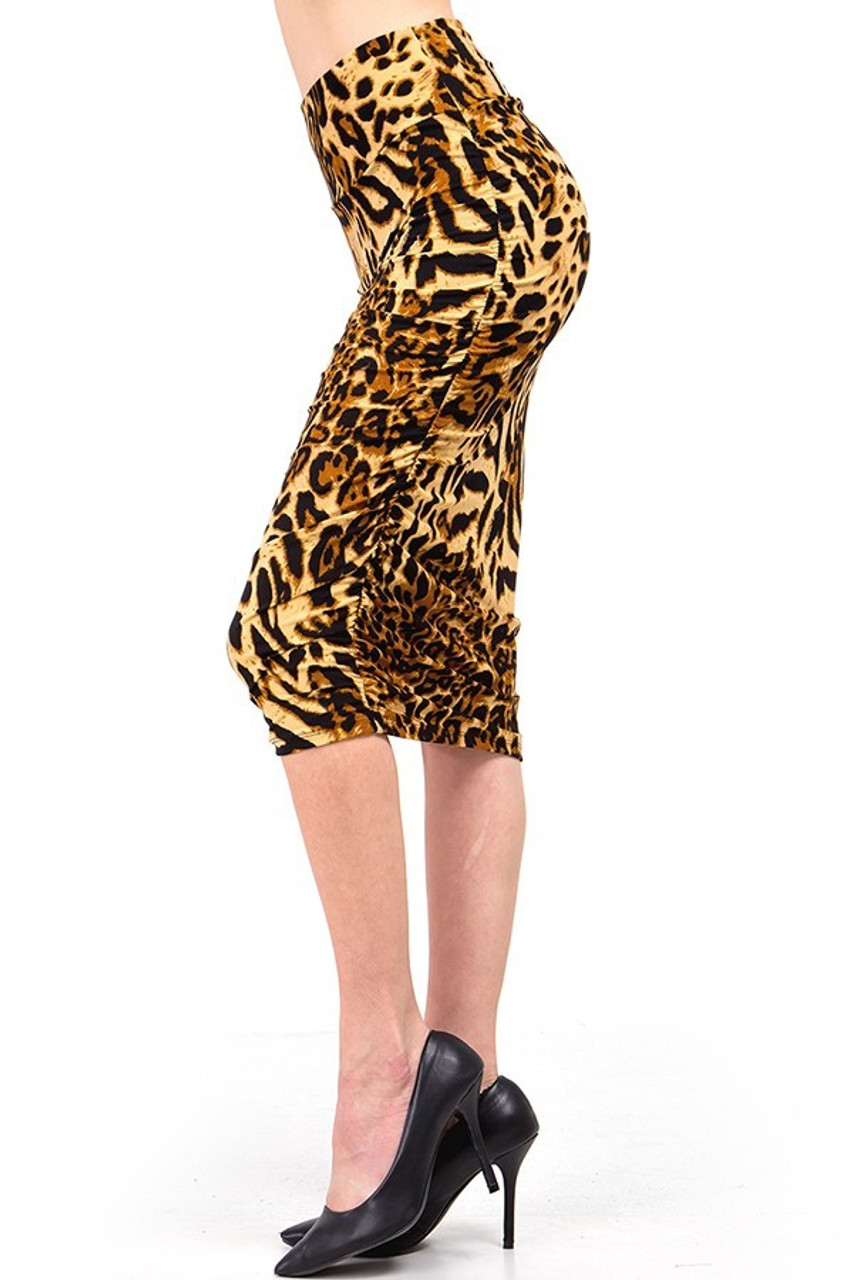 Left side view of Buttery Soft Predator Leopard Skirt showcasing ruched side seam detailing.