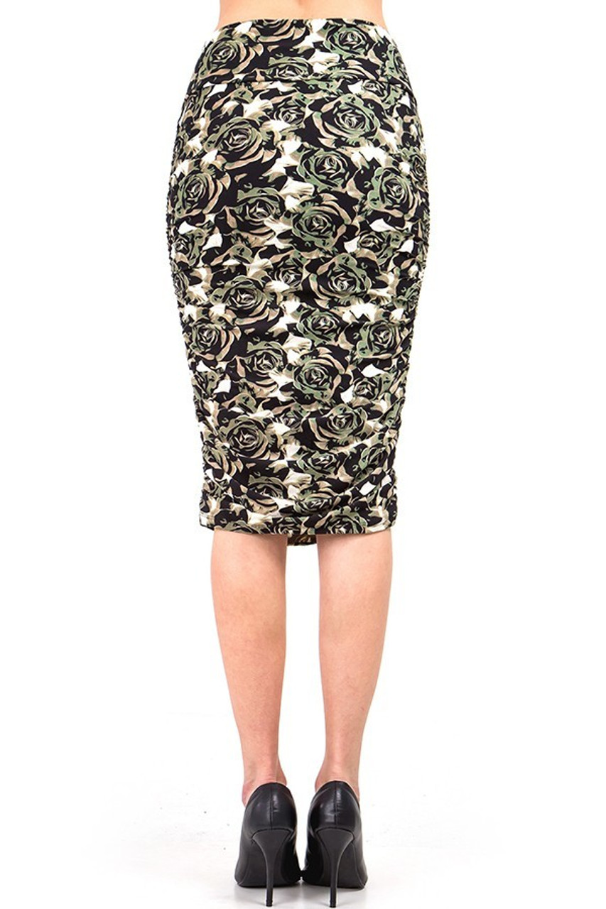 Our Buttery Soft Olive Rose Skirt features a flattering fitted look and a comfortable fabric.