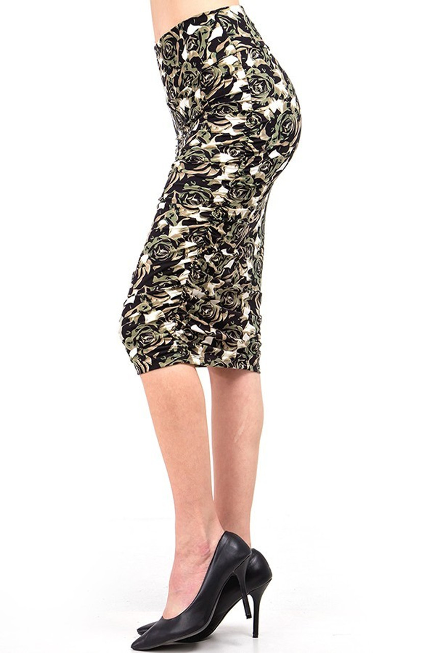 Side view of our Buttery Soft Olive Rose Skirt showcasing ruched detailing at side seams.