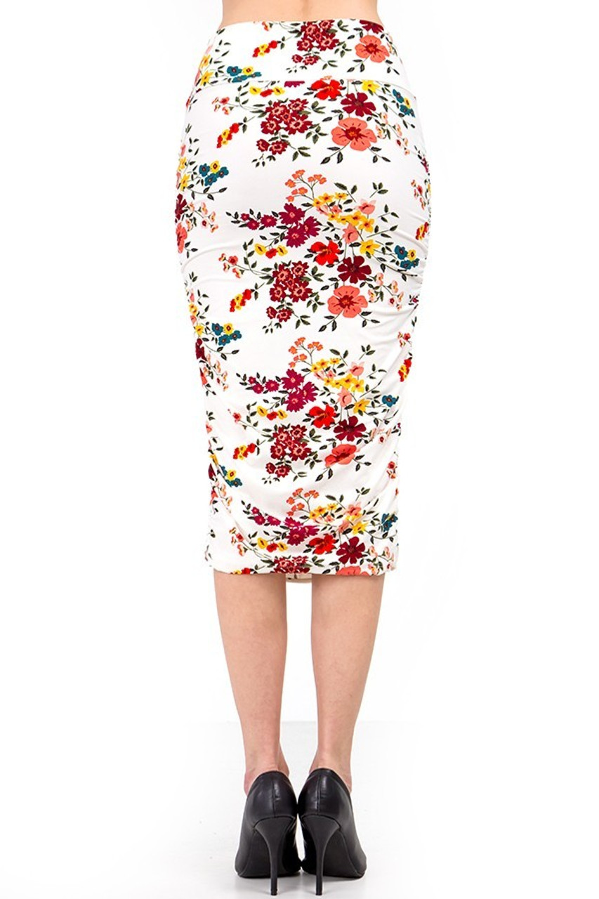 Our Buttery Soft Fresh Spring Floral Skirt features a high comfort fabric waist.