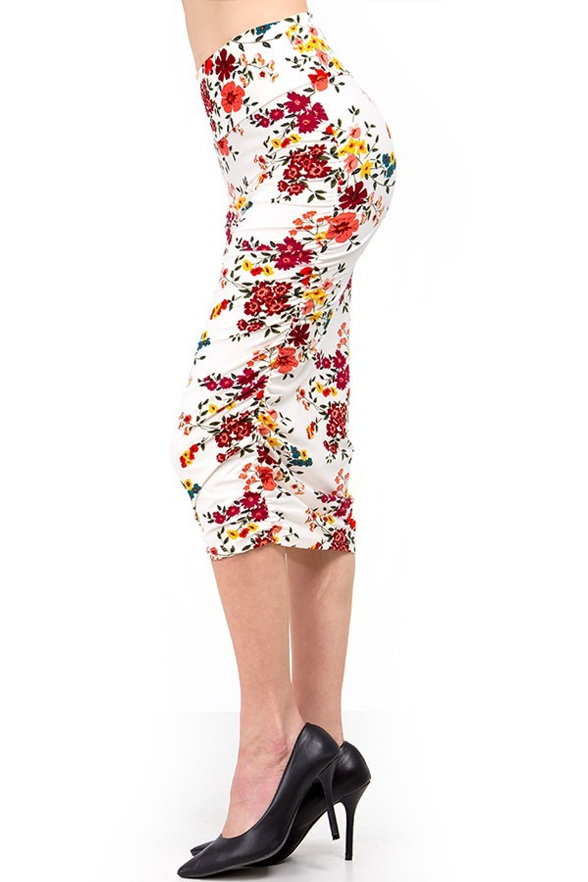 Left side view of our Buttery Soft Fresh Spring Floral Skirt.