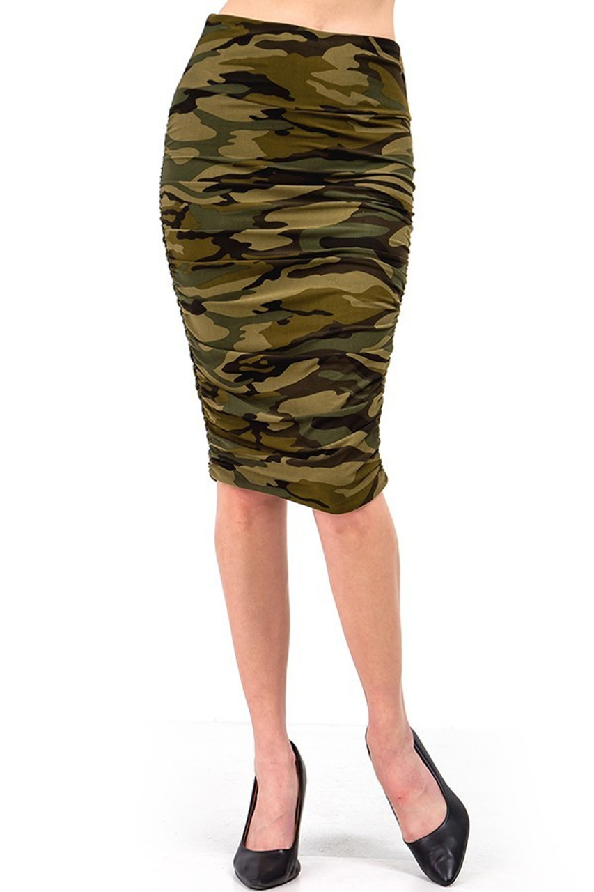 Front view of our Buttery Soft Green Camouflage Skirt in a pencil cut.