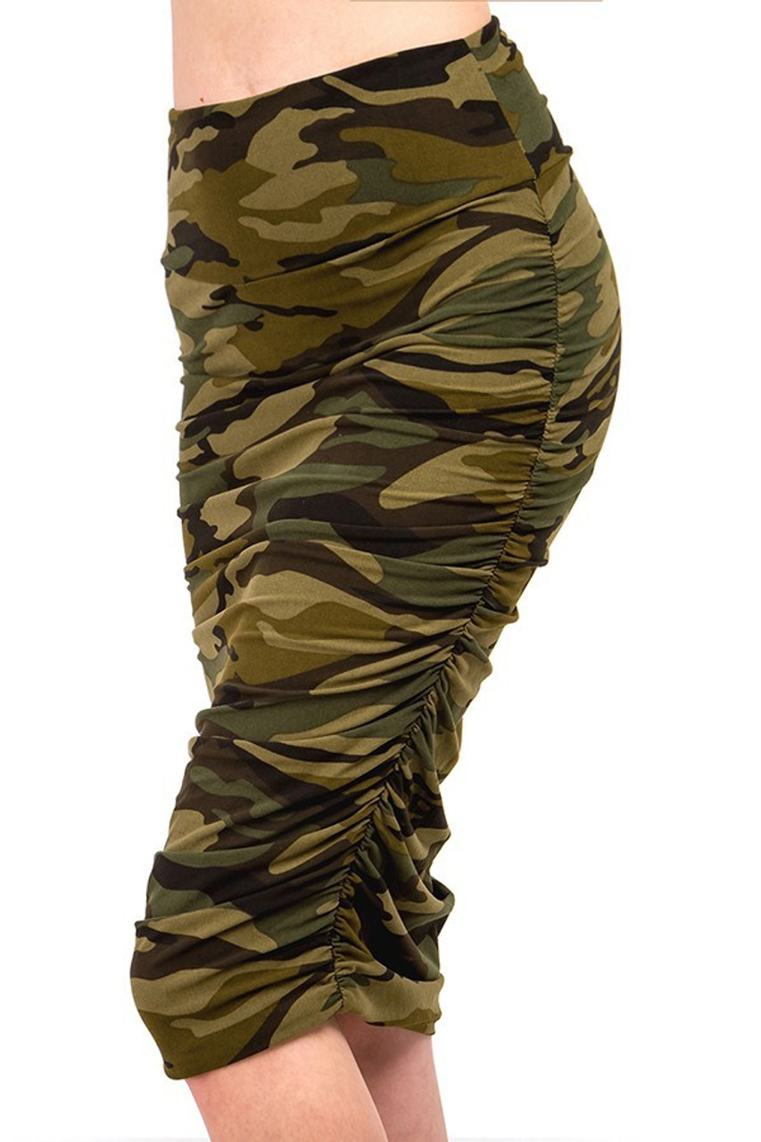 Left side of our Buttery Soft Green Camouflage Skirt cut just below the knee.