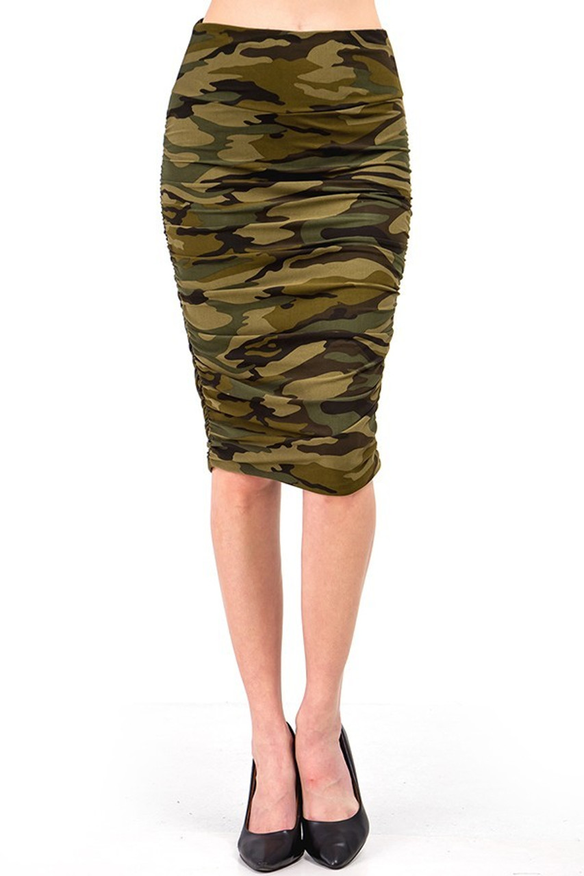 This Buttery Soft Green Camouflage Skirt showcases a classic olive army print design.