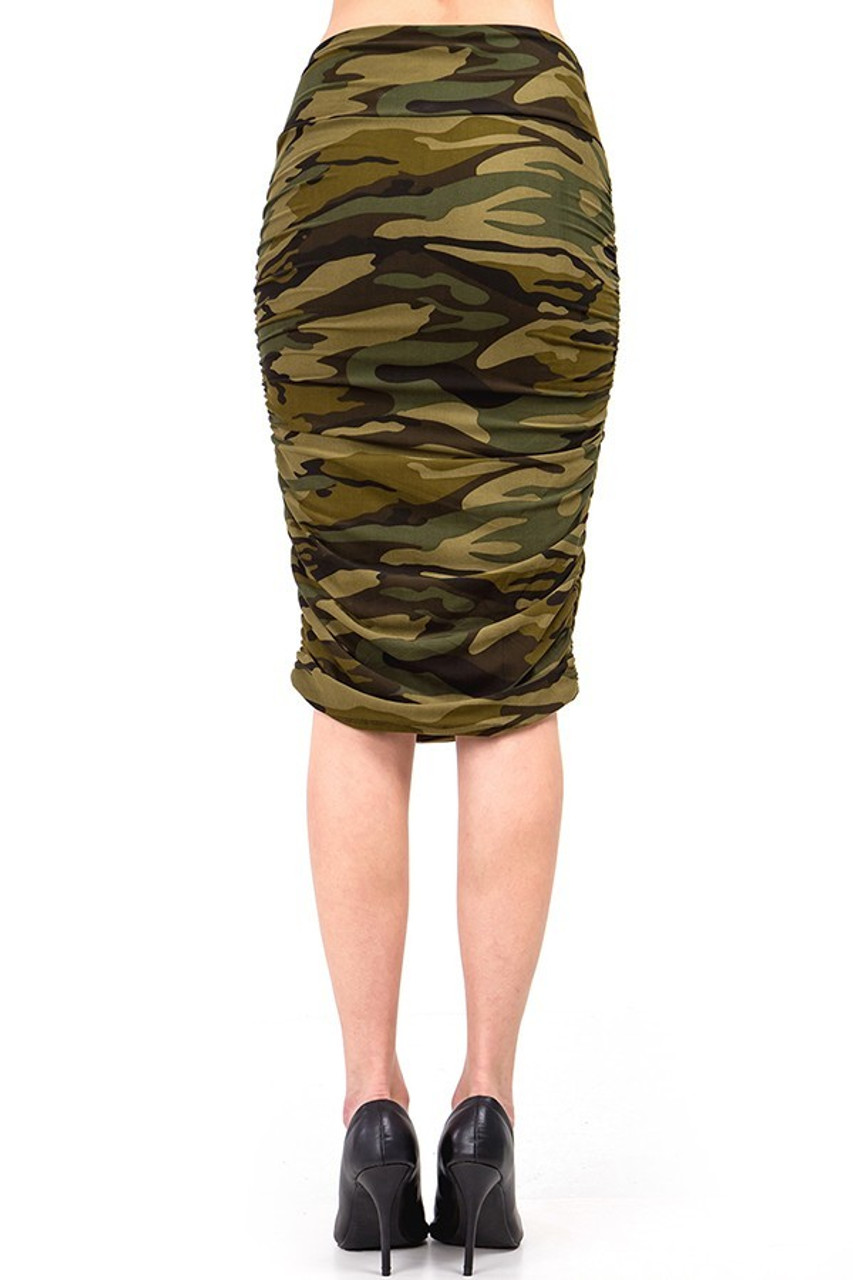 Rear view of Buttery Soft Green Camouflage Skirt.