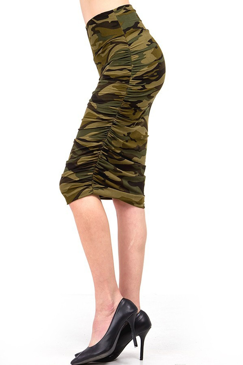 Left side view  of Buttery Soft Green Camouflage Skirt showcases ruched detailing at the sides of this skirt.